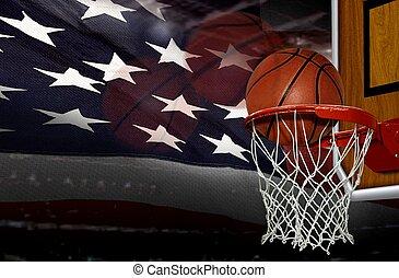 pousse, basket-ball, drapeau, américain, partition, fond