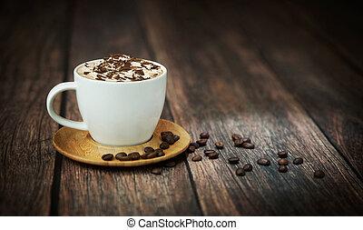 pousse, café, amende, tasse
