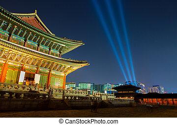 pousse, corée, palais, séoul, -, gyeongbokgung, république, nuit, principal