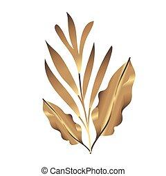 pousse feuilles, doré, heliconia, décoration, exotique, ...