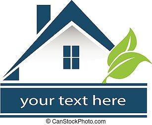 pousse feuilles, logo, vecteur, maison