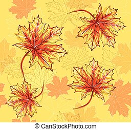 pousse feuilles, mapel, modèle, seamless