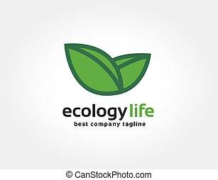 pousse feuilles, nature, marquer, résumé, logotype, vecteur, conception, gabarit, logo, vert, soin, constitué, concept., icône