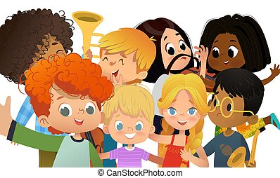 pousse, gosses école, groupe, autour de, multiculturel, prendre, faire idiot, filles, selfie., garçons, vecteur, themself, appareil-photo., portrait., amis, smartphone., illustration.