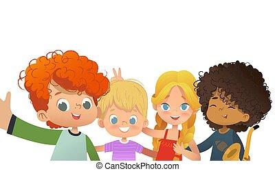 pousse, gosses, groupe, autour de, prendre, faire idiot, selfie., multicultiral, vecteur, themself, appareil-photo., amis, enfants, smartphone., illustration.