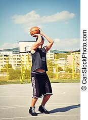 pousse, joueur, basket-ball, préparer, concentré