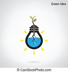 pousse, lumière, concept., arbre, idée, initiative, vert,...