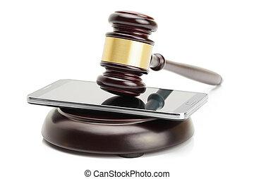 pousse, smartphone, caisse de résonnance, -, isolé, juge, studio, fond, entre, marteau, blanc