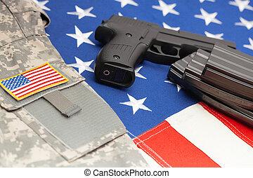 pousse, sur, -, haut, drapeau usa, studio, fin, pistolet