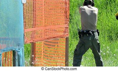 pousse, tir, range., homme, fusil, cibles