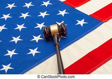 pousse, usa, bois, sur, -, juge, drapeau, studio, marteau