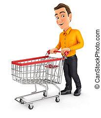 pousser, chariot, homme, supermarché, 3d