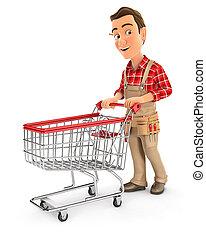 pousser, chariot, supermarché, 3d, bricoleur