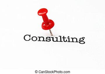 pousser epingle, sur, consultant, texte