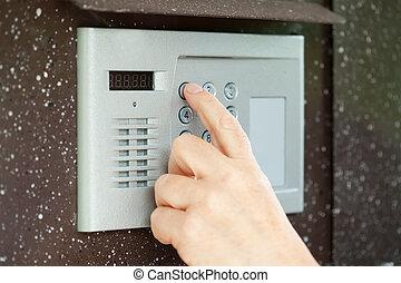 pousser, interphone, doigt, bouton