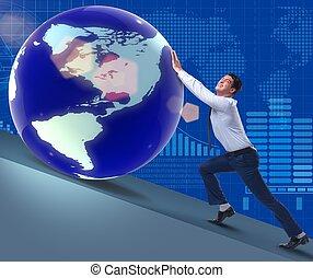 pousser, la terre, homme affaires, concept, business