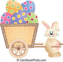 pousser, lapin pâques, charrette, heureux