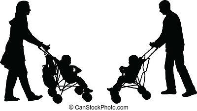 pousser, parents, promeneurs