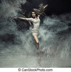 poussière, danseur ballet, attraper, doué
