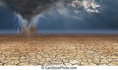 poussière, diable, désert