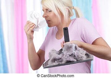 poussière, maison, femme, allergie