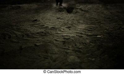 poussière, marche, homme