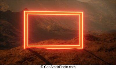 poussière, néon, portail, mars, planète, souffler, surface