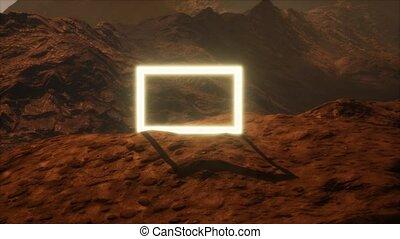 poussière, planète, souffler, néon, surface, portail, mars