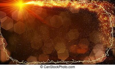 poussière, scintillements, fée, cadre, lumières