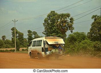 poussiéreux, choses, entiers, camion, route
