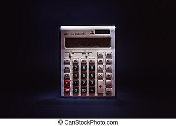 poussiéreux, vieux, calculatrice, électronique