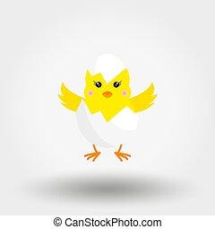 poussin, icon., flat., vector., eggshell.