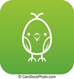 poussin, vecteur, vert, icône