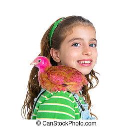 Poussins, éleveur, paysan, propriétaire ranch,  girl, Poules, poulet, gosse