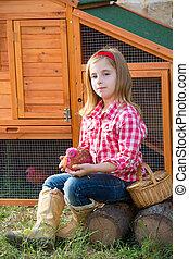 Poussins, mue, jouer, éleveur, blonds, paysan, propriétaire ranch, poulet, Poules,  girl, tracteur, gosse