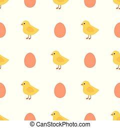poussins, oeufs, pattern., seamless, jaune, vecteur, poulet