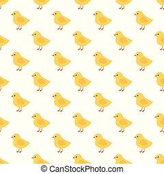 poussins, pattern., seamless, jaune, vecteur, poulet