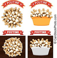 Poutine canadian food illustration vector text is outline...