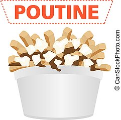 poutine quebec canadian fast food with fries and gravy with cheese curd
