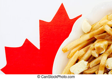 Poutine on Canadian flag - Poutine is a dish that people...