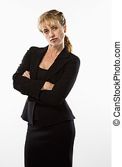Pouting businesswoman. - Caucasian businesswoman standing...