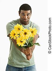 pouting, man, met, bouquet.
