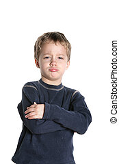 Pouting - Small boy pouting on a white background