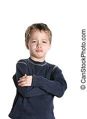 Pouting - Small boy pouting on a white background