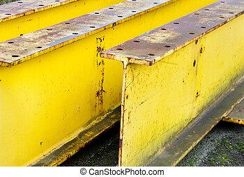 poutre acier, industriel, rayons, haut, jaune, grand, fin