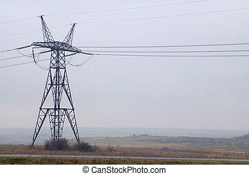 pouvoir électrique, ciel, nuageux, poteau, utilité