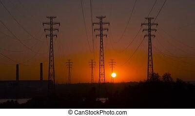 pouvoir revêt, a haute tension, levers de soleil