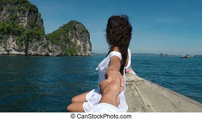 POV Beautiful Woman Sitting On Thailand Boat Nose Holding...
