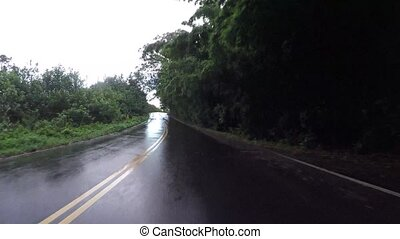 POV car driving in Maui Hawaii - Driving on Road to Hana in...