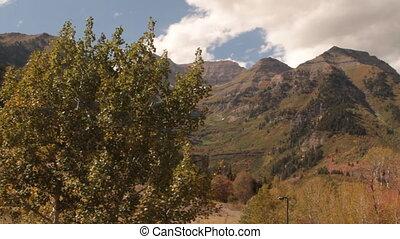 pov, chairlift, berg, in, herfst